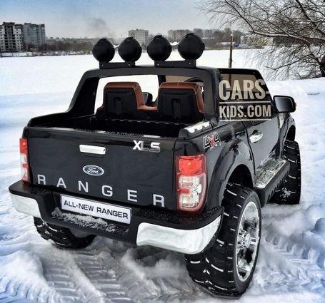 Электромобиль Ford Ranger синий глянец (АКБ 12v10ah, 2х местный, колеса резина, сиденье кожа, пульт, музыка)