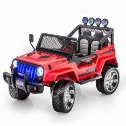 Электромобиль Jeep S2388 красный цвет (полный привод, колеса резина, кресло кожа, пульт музыка)