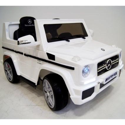 Электромобиль Mercedes-Benz G65 White LS-528 белый (колеса резина, кресло кожа, пульт, музыка)